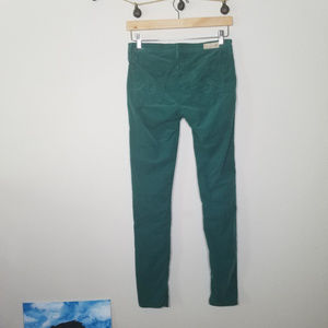 Ag Adriano Goldschmied Pants - AG Teal Forest Green Skinny the Legging Corduroy